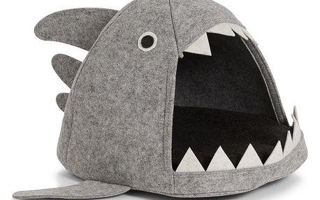 Domek pro kočku - pelíšek Shark, plstěný, šedá barva, 45x38x32 cm, ZELLER