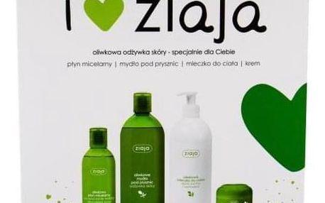 Ziaja Natural Olive dárková kazeta pro ženy sprchový gel 500 ml + tělové mléko 400 ml + denní pleťová péče 50 ml + micelární voda 200 ml