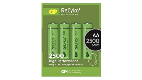 Baterie nabíjecí GP ReCyko+ AA, HR06, 2500mAh, Ni-MH, krabička 4ks (1032214113)