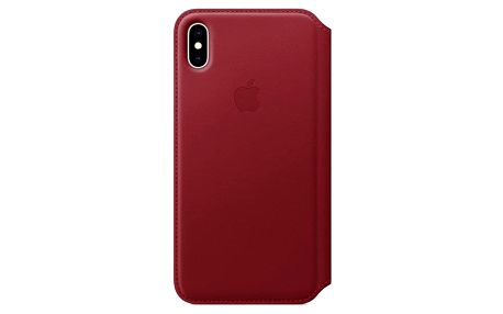 Pouzdro na mobil flipové Apple Leather Folio pro iPhone Xs Max - (PRODUCT) RED červené (MRX32ZM/A)