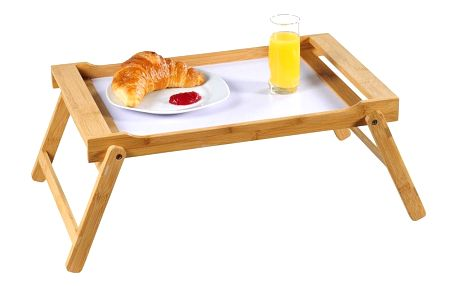 Bílý skládací bambusový snídaňový stůl, 33x23 cm, Kesper