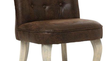 Atmosphera Pohodlná židle s opěradlem CALIXTE Small okouzlující židle pro toaletní stolek - umělá kůže, hnědá barva
