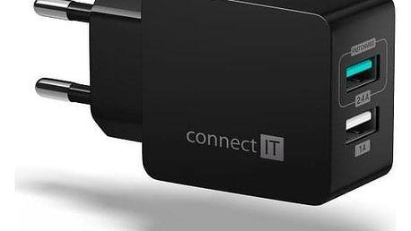 Connect IT Fast Charge 2x USB, 3,4A s funkcí rychlonabíjení černá (CWC-2015-BK)