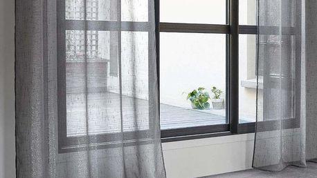 Atmosphera Tenký okenní závěs šedá - připravený závěs na očka pro obývací pokoj nebo ložnici