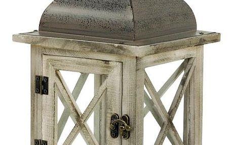 Lucerna dřevěná s kovovou stříškou, barva antik hnědá LUC039