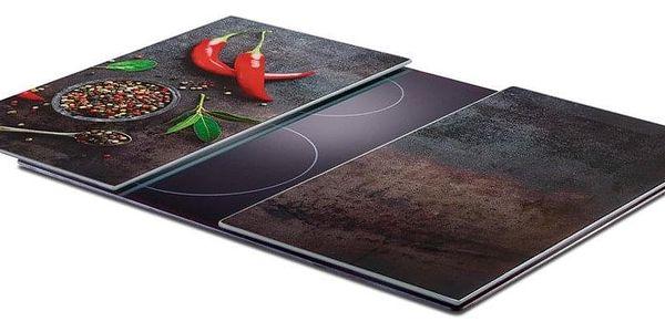 ZELLER Skleněná prkénko, designový výrobek s paprikovým potiskem, odolný a praktický kuchyňský nářadí.2