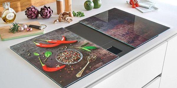 ZELLER Skleněná prkénko, designový výrobek s paprikovým potiskem, odolný a praktický kuchyňský nářadí.3