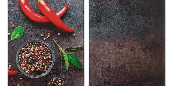 ZELLER Skleněná prkénko, designový výrobek s paprikovým potiskem, odolný a praktický kuchyňský nářadí.