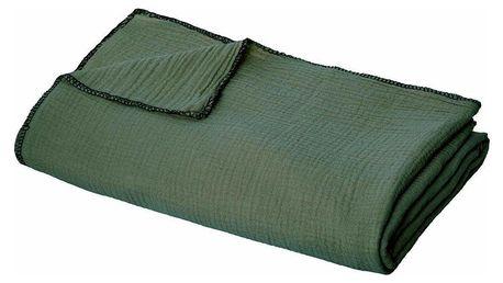 Emako Přehoz na postel tmavě zelené barvy, velikost 220 x 130 cm, ideální doplněk do ložnice