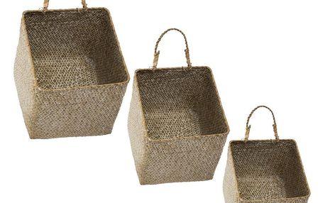 Atmosphera Sada košů na skladování, ekologické boxy z rákosu – 3 kusy v různých velikostech