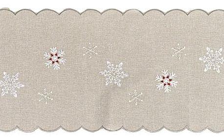 Forbyt Vánoční vyšívaný ubrus Sněhové vločky šedá