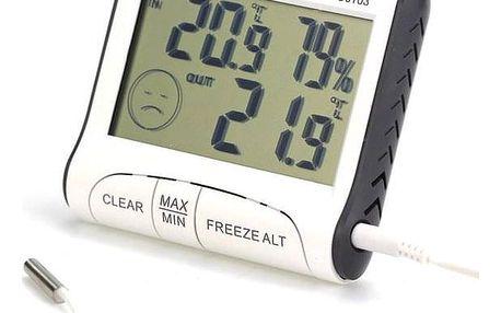 Venkovní a vnitřní teploměr s vlhkoměrem a LCD displejem - dodání do 2 dnů