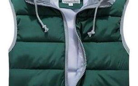 Prošívaná vesta s kapucí - Modrá-velikost č. L - dodání do 2 dnů