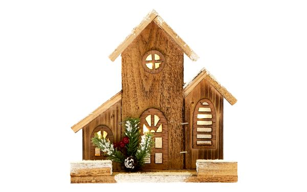 Dřevěný domeček s osvětlením, 21 x 21 x 6 cm
