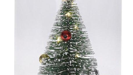 Emako Dekorace pod skleněnou kopulí, vánoční stromek se světlem LED, svítící ozdoba, (cm)11x17