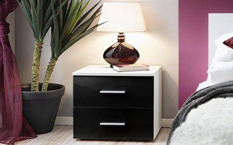Noční stolek Vicky, bílá matná/černý lesk