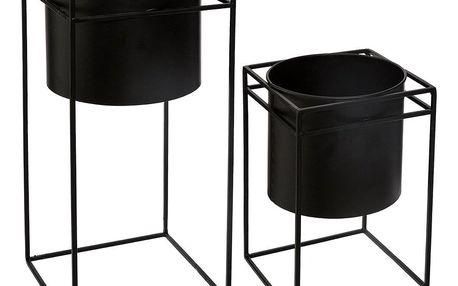 Emako Sada dvou květináčů černé barvy na kovovém stojanu