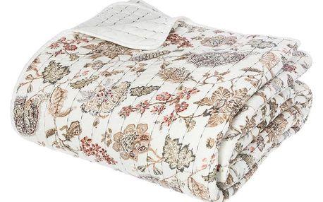 Atmosphera Créateur d'intérieur Přehoz na postel, barva bílá, květinový vzor, z opačné strany hladký bez vzoru, materiálbavlna, polyester, viskóza, 220x260 cm