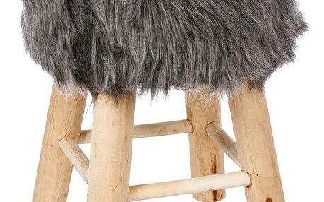 Atmosphera Créateur d'intérieur Designový taburet oprůměru 30 cm směkkým sedákem načtyřech dřevěných nožkách, kompaktní, šedé barvy