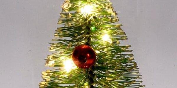 Emako Dekorace pod skleněnou kopulí, vánoční stromek se světlem LED, svítící ozdoba, (cm)11x172