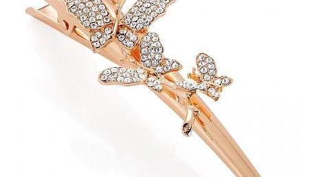 Zlato-růžová spona do vlasů Charis 32357