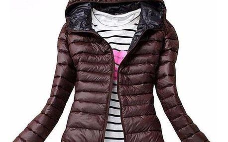 Dámská podzimní prošívaná bunda s kapucí - hnědá, velikost L/XL - dodání do 2 dnů