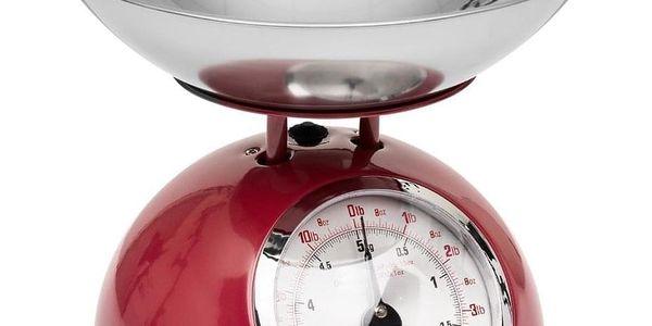 Emako Mechanická váha, kuchyňská váha, designová váha RETRO DESIGN, 5 kg, barva červená