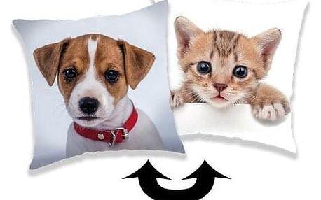 Jerry Fabrics Povlak na polštářek s flitry Pes / kočka, 40 x 40 cm