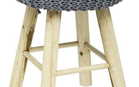 Atmosphera Créateur d'intérieur Čalouněný taburet vretro stylu na dřevěných nožkách, dřevěná stolička, čalouněná stolička, taburet do předsíně