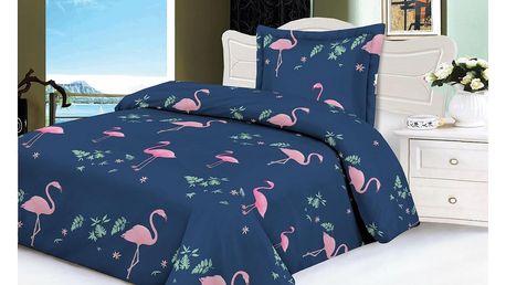 Jahu Povlečeni mikroplyš Flamingo modrá, 140 x 200 cm, 70 x 90 cm
