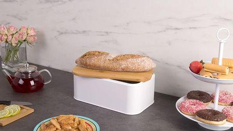 Kovový kontejner na chleba, 2v1 bambusové prkénko, 2v1, 31x18x13 cm, ZELLER