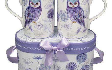 Dárková sada porcelánových hrnků Fialová sova 330 ml, 2 ks