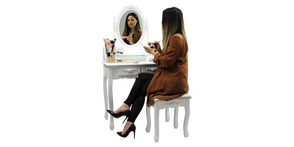 Toaletní stolek s taburetem Emilie, 143 x 74 x 40 cm5