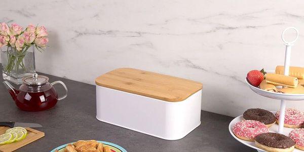 Kovový kontejner na chleba, 2v1 bambusové prkénko, 2v1, 31x18x13 cm, ZELLER4