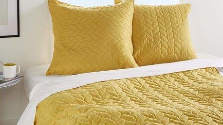 Atmosphera Créateur d'intérieur Přehoz žluté barvy s dekorativními polštářky, přehoz na postel, přehoz na lenošku, moderní přehozy na postel do ložnice