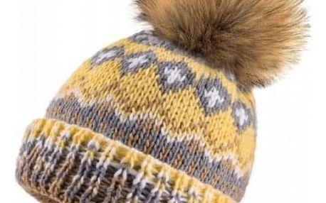 Žlutá pletená čepice Woolk se vzorem a hnědou bambulí