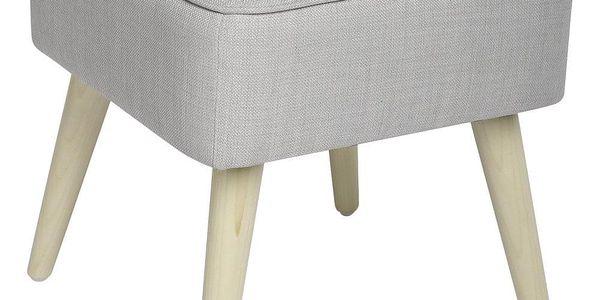 Atmosphera Créateur d'intérieur Čalouněný taburet nadřevěných nožkách, dřevěná stolička, skandinávský taburet, čalouněná stolička, taburet dopředsíně