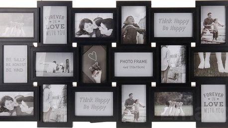 Emako Stylový fotorámeček pro 18 fotek, 89x46 cm, černá barva