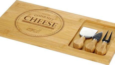 EH Excellent Houseware Bambusová prkénko na sýry a občerstvení + 3 nože