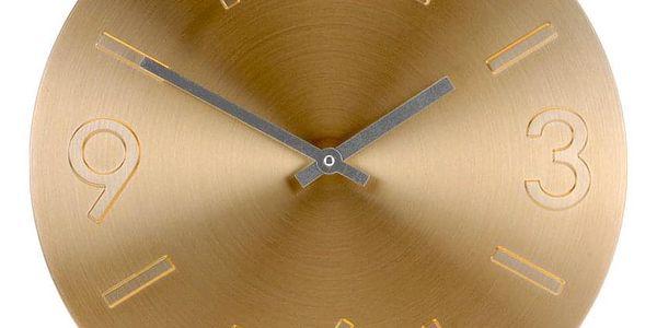 Emako Kulaté ručičkové zlaté hodiny z hliníku, Ø 35 cm