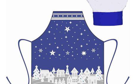 Forbyt Vánoční dětský set zástěra s kuchyňskou čepicí, modrá