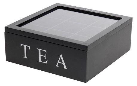 Home Styling Collection Dřevěný box na čaj TEA, 9 přihrádek
