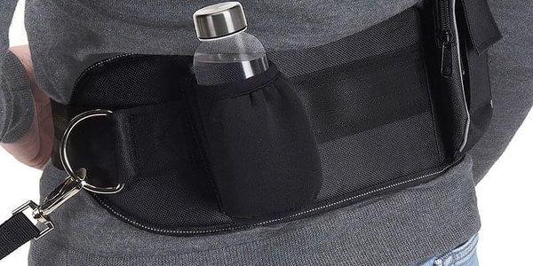 Emako Praktická sada na venčení psa, bederní pás s pružným vodítkem, černá barva, doplňkové kapsy4
