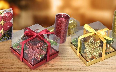 Sady vánočních svíček a svícnu v dárkovém balení