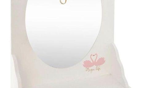 Atmosphera Créateur d'intérieur Zrcadlo, skříňka, dřevěná kazeta se zrcadlem, toaletní stolek, barva bílá - 32 x 10 x 50 cm