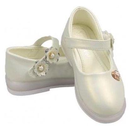 Dětské baleríny blikající bílé s kytičkami vel.30