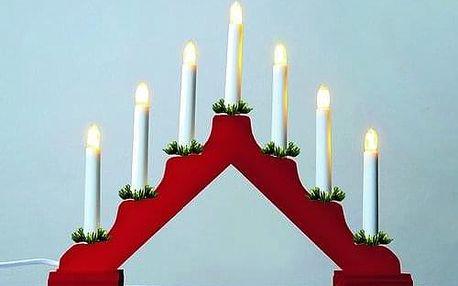Adventní svícen LED Filament, červená