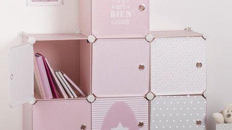 Emako Skříň se zásuvkami, regál, knihovna, police na drobnosti, 94,5 x 32 x 109 cm, růžová barva