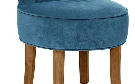 Atmosphera Créateur d'intérieur Univerzální taburet, stolička, snízkou opěrkou, lehce ohnuté borovicové nožky, pohodlí, potah vmodré barvě