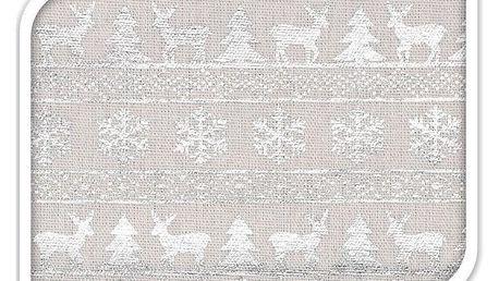 Home Styling Collection Ubrusy sobů, ubrus na vánoční stůl, stříbrná, 140 x 230 cm